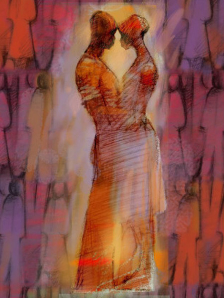 Abstract Embrace in Red
