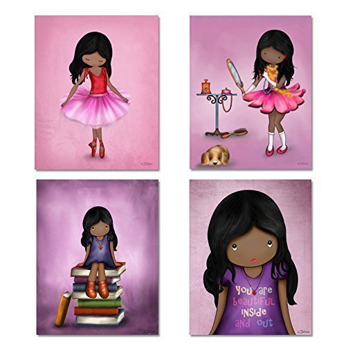 Set Of 4 Art Prints For Girls Room African American Artwork Pink Purple Wall  Art Posters For Childu0027s Room Or Nursery 8×10 (Dark Skin Black Hair Girl)